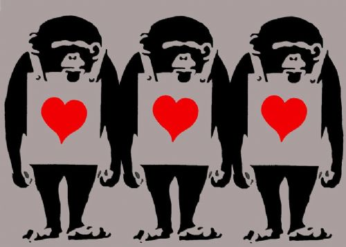 BANKSY - MONKEY LOVE GREY canvas print - self adhesive poster - photo print